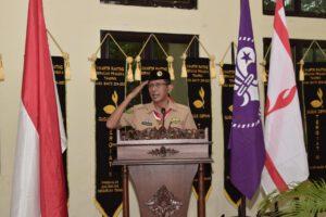 Ketua Kwarda Riau yang diwakili oleh Wakil Ketua bidang organisasi, hukum, dan bela negara H. Kasiarudin saat memberikan sambutan pada pembukaan Musyawarah Ranting Gerakan Pramuka Tampan, Sabtu, 27/3/2021 bertempat di aula Kantor Camat Bina Widya Pekanbaru